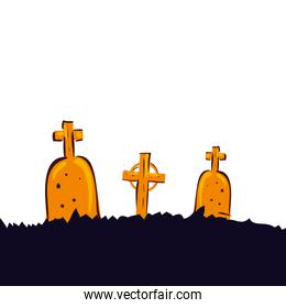 halloween tombs of cemetery isolated icon