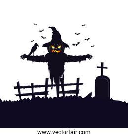 scarecrow halloween with raven and tomb