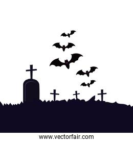 halloween tomb of cemetery with bats flying