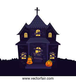 haunted house halloween with pumpkins