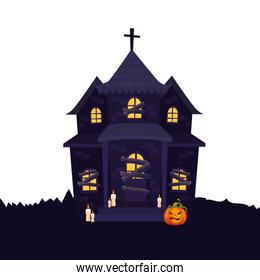 haunted house halloween with pumpkin and candles
