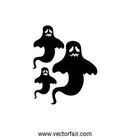 halloween mysterious ghosts isolated icon