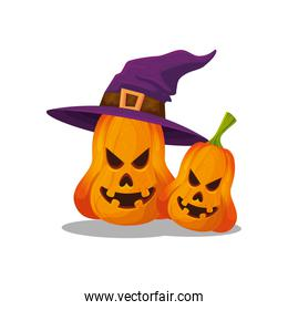 halloween pumpkins with hat witch isolated icon