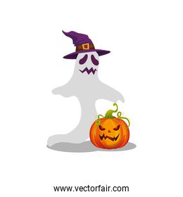 halloween ghost with witch hat and pumpkin