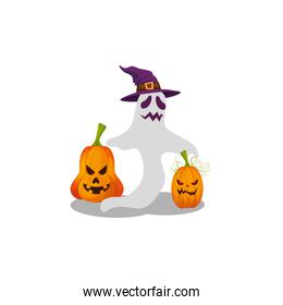 halloween ghost with witch hat and pumpkins