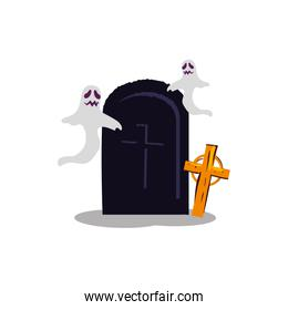 halloween ghosts with tomb and cross
