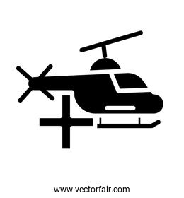 medical helicopter transport silhouette style