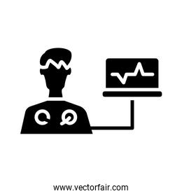 medical ekg machine cardiology pulse silhouette style icon