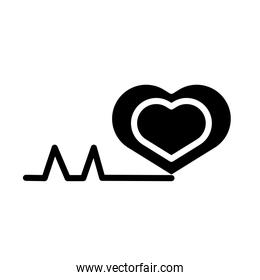 medical heart cardiology pulse silhouette style