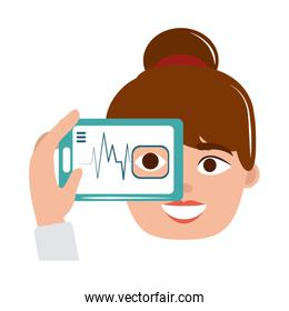 online doctor female consultation app smartphone care flat style icon