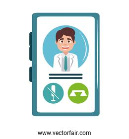 online doctor smartphone consultation call care flat style icon
