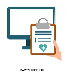 online doctor computer clipboard report medical care flat style icon