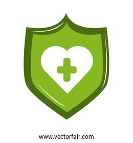online doctor shield medical protection care flat style icon
