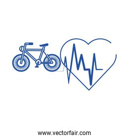 online doctor heartbeat health care blue line style icon