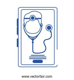 online doctor character smartphone stethoscope support care blue line style icon
