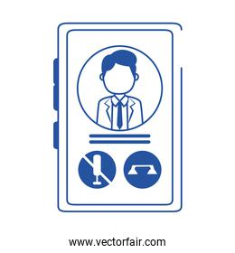 online doctor smartphone consultation call care blue line style icon