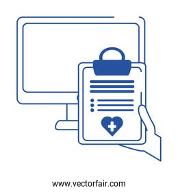 online doctor computer clipboard report medical care blue line style icon