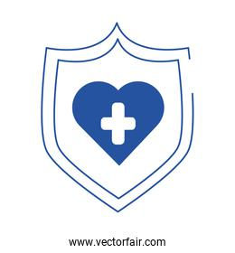 online doctor shield medical protection care blue line style icon
