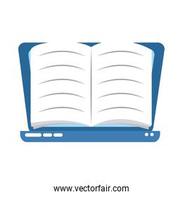 laptop ebook learning home education flat style icon