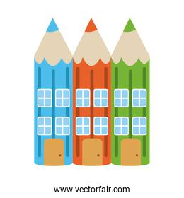 color pencils shaped house home education flat style icon