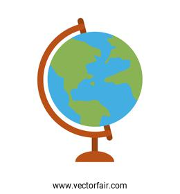school globe geography map home education flat style icon