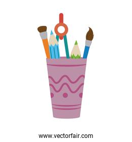 brush pencil compass color in cup home education flat style icon