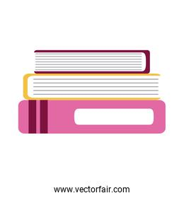 stack of books supplies home education flat style icon