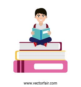 teen with open book sitting on books home education flat style icon