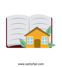 open book and house home education flat style icon