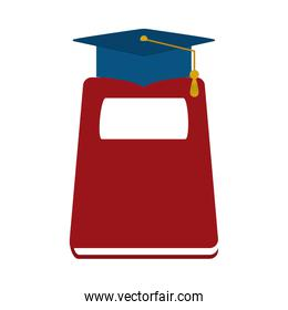 book and graduation hat home education flat style icon