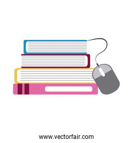 stack of books connected mouse home education flat style icon