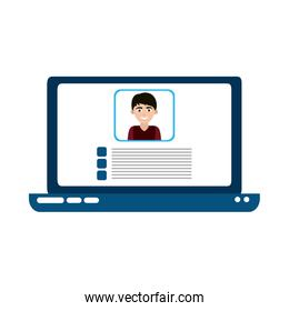 laptop computer video teaching home education flat style icon