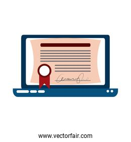 laptop computer certificate virtual home education flat style icon