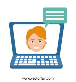 laptop computer talking student home education flat style icon