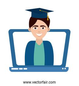 graduate teen with graduation hat in laptop home education flat style icon
