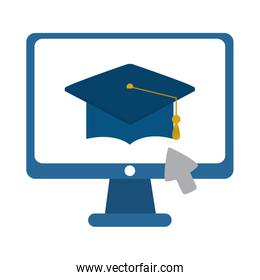 computer click graduation hat home education flat style icon