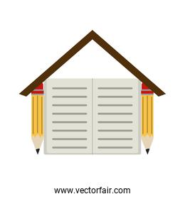 pencils and book shaped house home education flat style icon