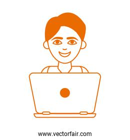 teen with laptop computer home education line color style icon