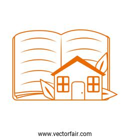 open book and house home education line color style icon