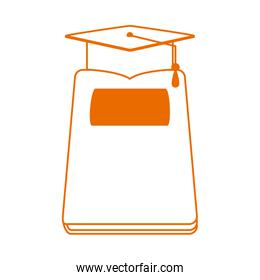 book and graduation hat home education line color style icon