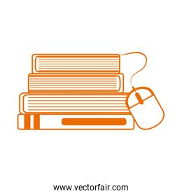 stack of books connected mouse home education line color style icon