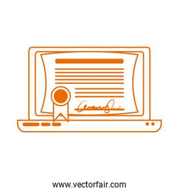 laptop computer certificate virtual home education line color style icon