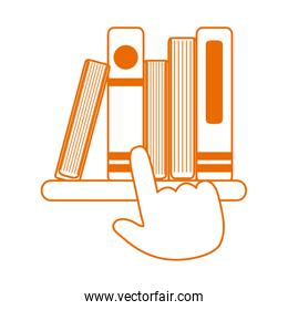 click books on virtual home education line color style icon