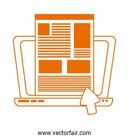 laptop click website home education line color style icon