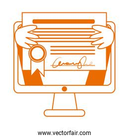 student with diploma in computer home education line color style icon