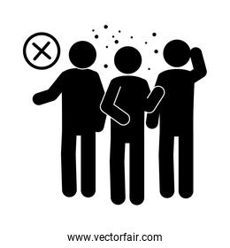 coronavirus covid 19, avoid crowded places, prevent health pictogram, silhouette style icon