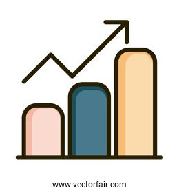 statistics chart growth arrow financial business stock market line and fill icon