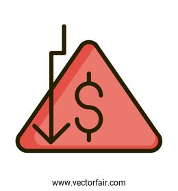downturn arrow money financial business stock market line and fill icon
