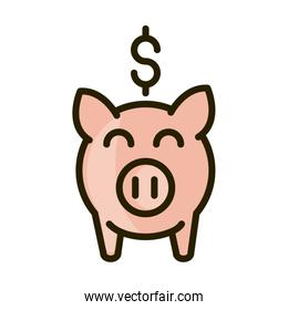 piggy bank money financial business stock market line and fill icon