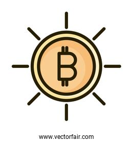 bitcoin cryptocurrency financial business stock market line and fill icon